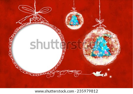 Christmas card with empty picture frame and blank space to write text with children's ornaments - stock photo