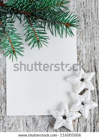 Christmas card with fir branch - stock photo