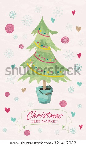Christmas card with fir tree in the bucket, snowflakes and hearts. Hand drawn winter holiday design for Christmas and New Year greeting cards, fabric, wrapping paper, invitation, stationery.  - stock photo
