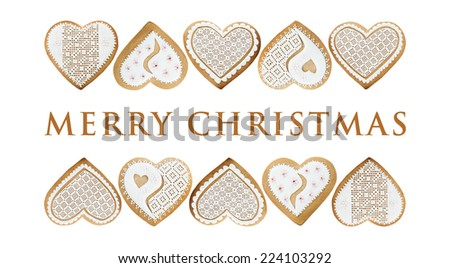 Christmas card with gingerbread hearts on white background - stock photo