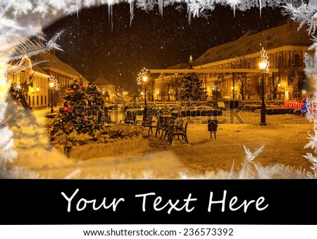 christmas card with ice on window, night scene - stock photo