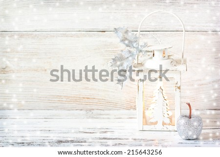 Christmas card with lantern in silver tone. - stock photo