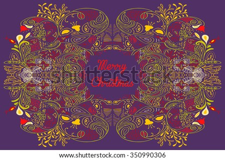 Christmas card with Merry Christmas text with decorations. Nature Floral ornament as a snowflake circle silhouette: berry, flower. Brown, blue, teal red yellow violet purple colors. - stock photo