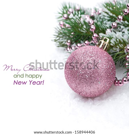Christmas card with pink bauble, isolated on white