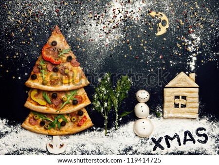 Christmas card with pizza tree and snowman, Xmas card. Naturmort