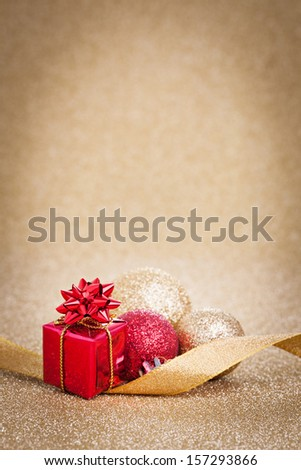 christmas card with present and copy space   - stock photo