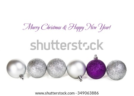 Christmas card with purple balls
