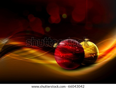 Christmas Card with Realistic Balls and Shiny Wet Drops | Greeting Background - stock photo