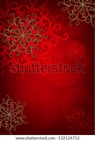 Christmas card with snowflakes and curls. Raster copy of vector image - stock photo