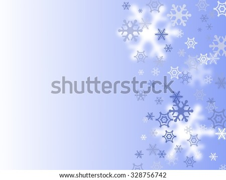 Christmas card with snowflakes on blue background