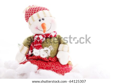 Christmas card with  snowman and blank space to insert text or design - stock photo