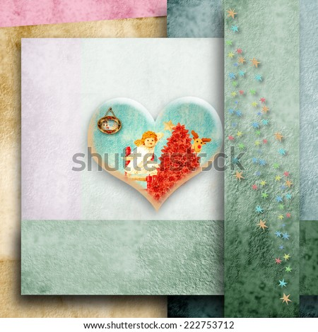 Christmas card with space for writing, Angel in a heart and fir on color paper background