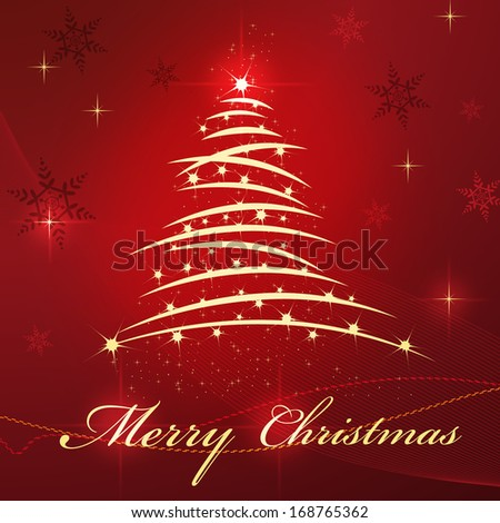 Christmas card with tree and star on red beautiful background - stock photo