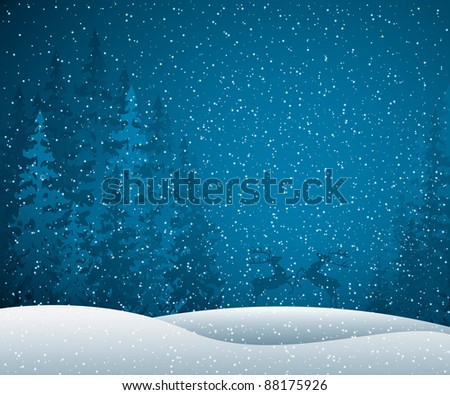 Christmas card with winter evening in blue tone