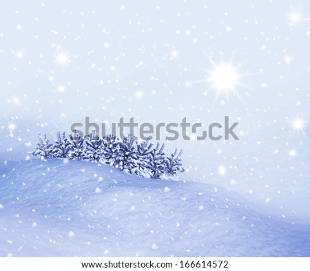 Christmas card with winter landscape - stock photo