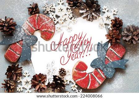Christmas Card with Wooden Fir Tree Toys and  Message Happy New Year on the letter, isolated on white, decorated snowflakes pine cones - stock photo