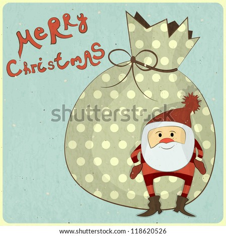 Christmas cards with cartoon Santa and bag with gifts - New Year postcard in Retro style - JPEG version - stock photo