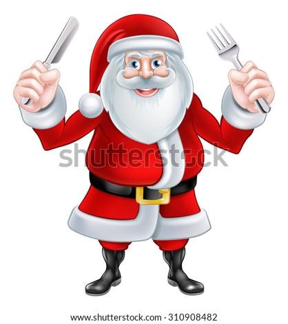 Christmas cartoon Santa Claus holding a knife and fork ready for dinner - stock photo
