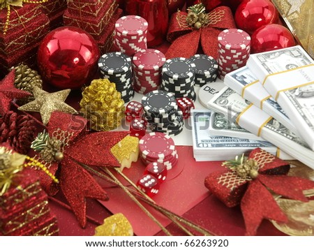 Christmas casino background with a gambling set - stock photo