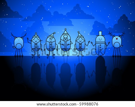 Christmas characters background -raster - stock photo