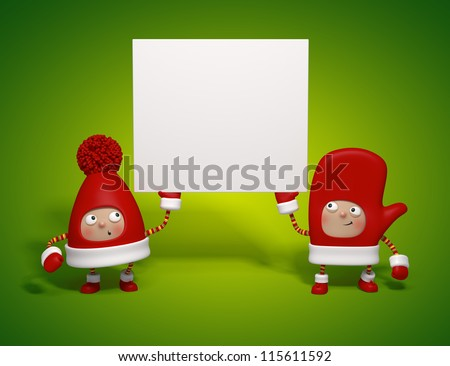 Christmas characters holding banner - stock photo