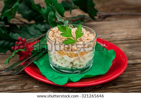 Christmas Chicken, Apple, Cheese and Egg Salad Layered with Mayonnaise Served in Individual Cups, copy space for your text - stock photo
