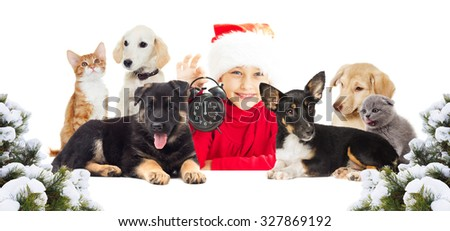 Christmas� child and a set of animals - stock photo