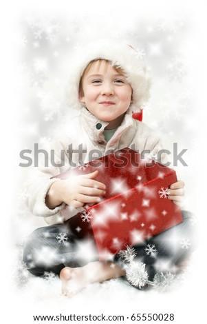 christmas child boy - stock photo
