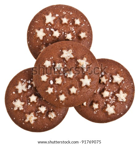 christmas chocolate cookies isolated on a white background - stock photo