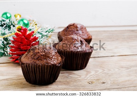 christmas chocolate muffins background