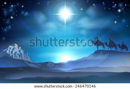 Christmas Christian Nativity scene of the Star and three Wise Men and Bethlehem in the background - stock photo