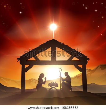 Christmas Christian nativity scene with baby Jesus in the manger in silhouette, and star of Bethlehem - stock photo