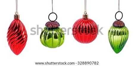 Christmas. Christmas balls isolated on white background. Christmas. Christmas decoration. Christmas. Christmas balls. Christmas.  Christmas ball hanging, retro. Christmas green and red balls.  - stock photo