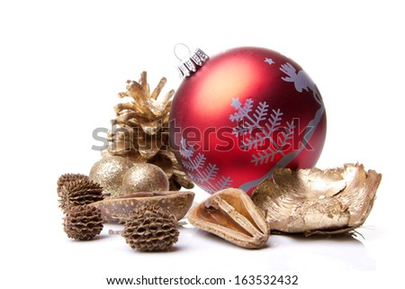 christmas, christmas bauble with christmas tree and pine cones  - stock photo