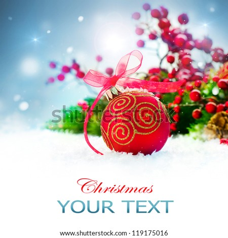 Christmas. Christmas Holiday Background with Red Bauble, Decorations, Snow and Snowflakes. New Year Art Design - stock photo