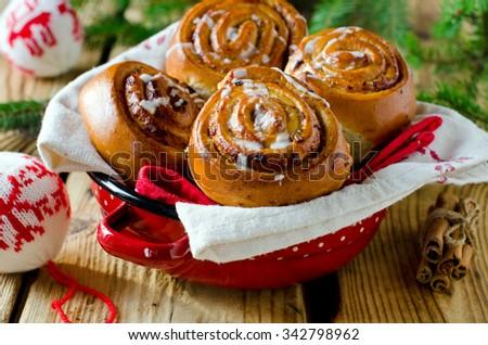 Christmas cinnamon rolls - stock photo