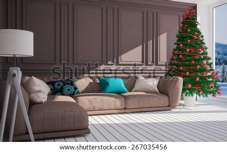 Christmas classic interior  with  Christmas tree & sofa.3D illustration