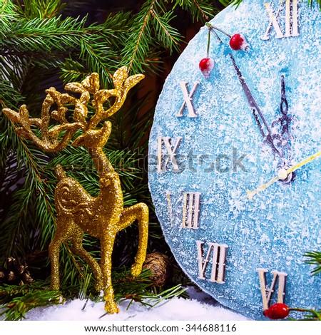Christmas clock - stock photo