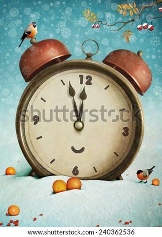 Christmas clock and bullfinches - stock photo