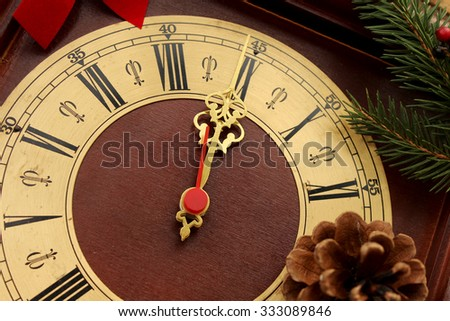 Christmas clock with winter decoration - 12 o' clock - midnight