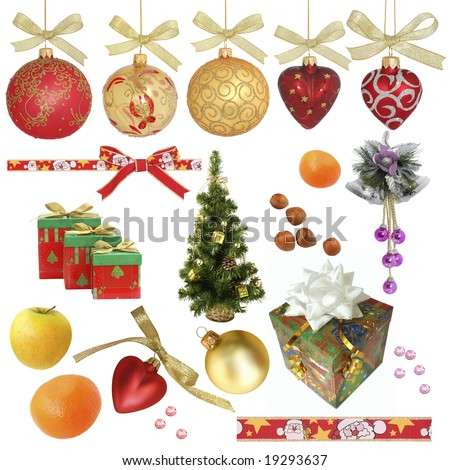 Christmas collection / isolated objects  /  XXL size Various objects related to Christmas isolated on white without shadow.  Ideal as background. - stock photo