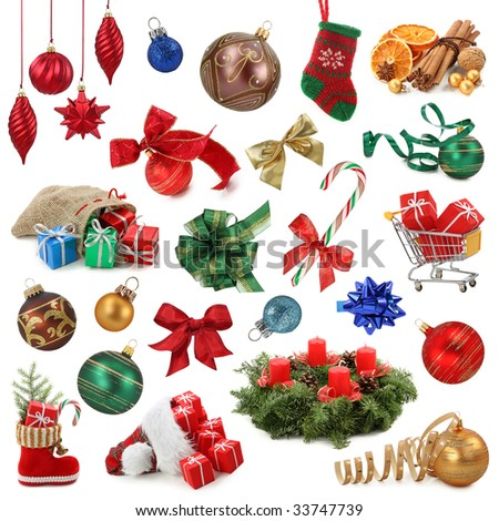 Christmas collection isolated on white background - stock photo
