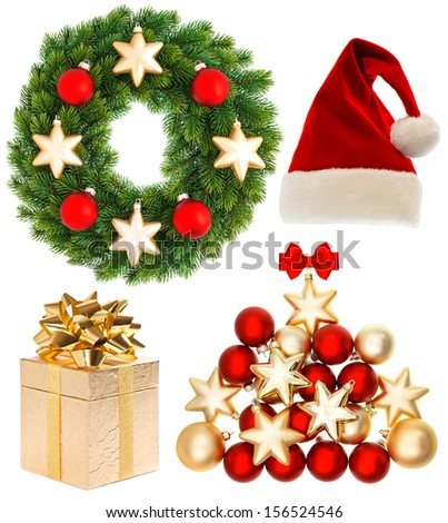 Christmas collection isolated on white background. Decoration items. Santa hat, gifts, baubles, wreath - stock photo