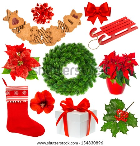 Christmas collection isolated on white background. Stocking, gifts, wreath, cookies - stock photo