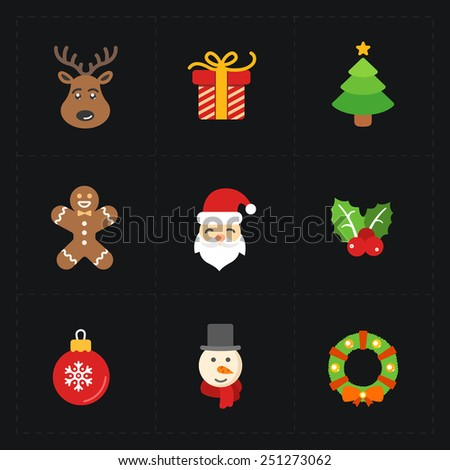 Christmas color icons collection