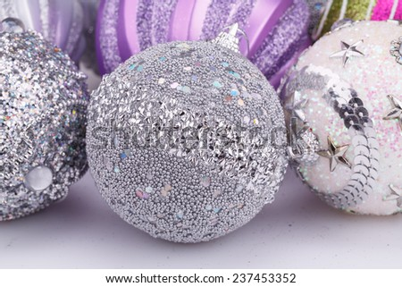 Christmas colorful balls on gray background. - stock photo