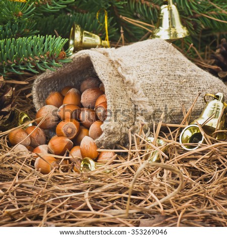 Christmas composition and decoration.Selective  focus - stock photo