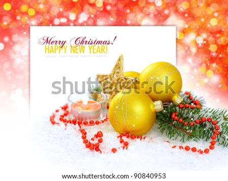Christmas composition is with gold balls, candle and star on snow - stock photo