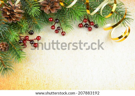 Christmas composition on a background of old paper