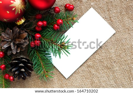 Christmas composition on canvas material with space for text